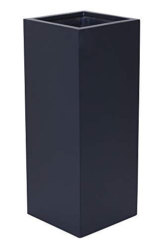 VIVANNO Pflanzkübel Blumenkübel Übertopf Säule Fiberglas Anthrazit Block 60x30x30
