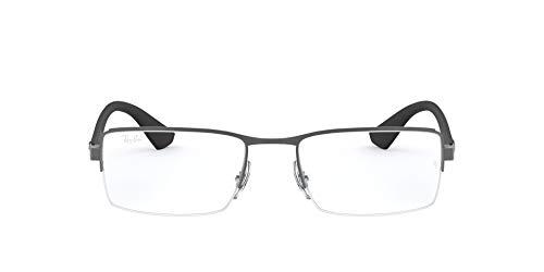Ray-Ban RX6331 Metal Rectangular Prescription Eyeglass Frames, Matte Gunmetal/Demo Lens, 52 mm