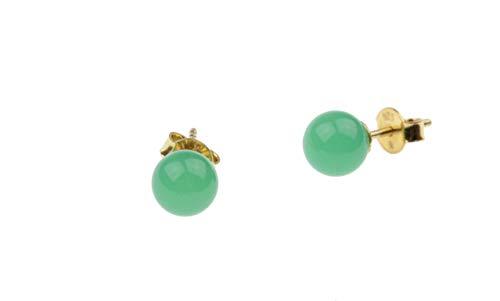 c-c Ohrstecker Edelstein/Chrysopras - grün / 925/000 Sterling Silber vergoldet
