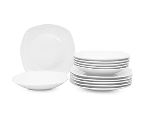 Retsch Arzberg / Geschirr Tafelservice FINO / Set 12teilig für 6 Personen / Porzellan eckig uni weiß / Basic-Geschirr