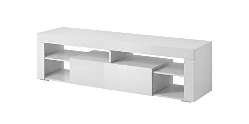 E-Com - TV-Lowboard Fernsehschrank Fernsehtisch Titan - 140 cm - Weiß