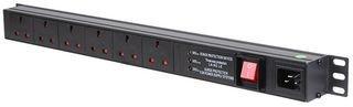 1U 6 Way Horiz UK 13A PDU + interruptor + sobretensión  Modular