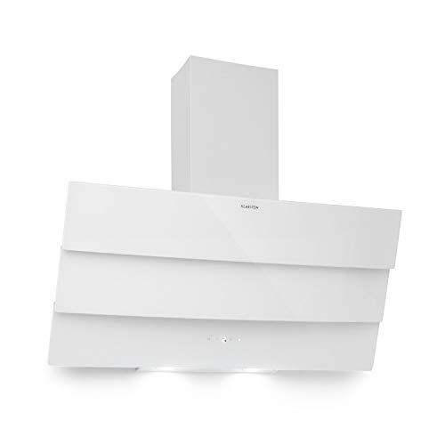 Klarstein Antonia - hotte aspirante, 90 cm, 350 m³/h, CEE B, extraction ou recirculation, commande tactile, écran LED, 2 LED commutables, façade en verre en 3 parties, hotte murale - blanc