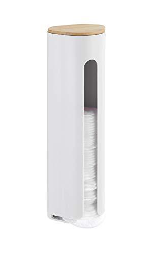 WENKO Wattepadhalter Laresa - Wattepad-Spender, 8 x 6,7 x 25,2 cm, weiß