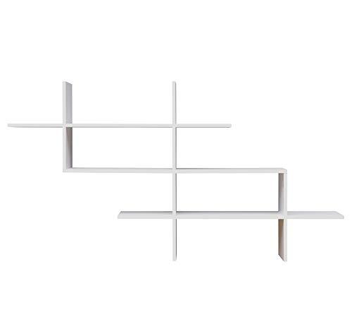 Danya B. Estante de pared flotante de 3 niveles con cruz de Criss diseño moderno asimétrico, color blanco