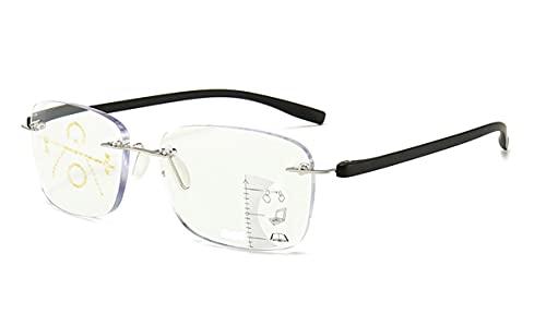 Gleitsichtbrille randlos rahmenlose Lesebrille Metall + TR90 schwarz Multifokale Gläser für Damen Herren mit +1.50 Dioptrien Gleitsichtlesebrille mit Brillentasche und Putztuch (+ 1.50 Dioptrien)