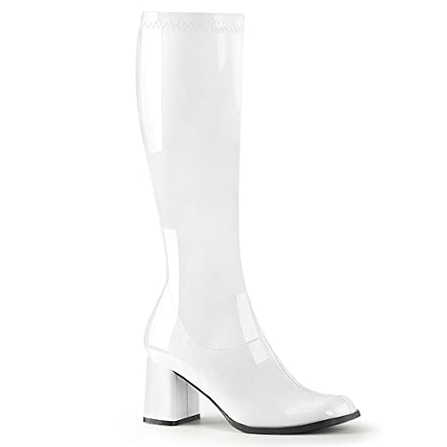 FVL Womens Ladies Mens Fancydress GoGO 60's 70's Disco Party Knee High Boots Size 3 4 5 6 7 8 9 10 11 (White Glossy, Numeric_6)