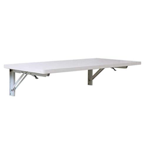 CHGDFQ Mesa plegable de madera maciza blanca con soporte en la pared, rectangular simple y multiusos con soporte en K, mesa plegable portátil para ordenador portátil (tamaño 70 x 60 cm)