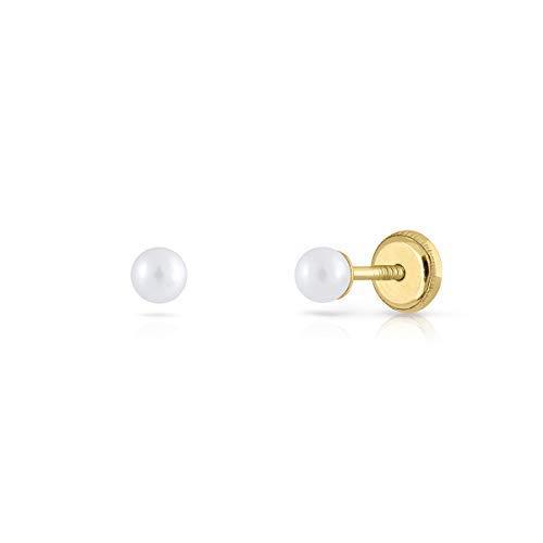 Pendientes oro 18k, bebe recien nacida, niña o mujer, modelo clásico perla cultivada natural DE calidad. de 3-4-5-6-7-8 milímetros. Con cierre de rosca o presión. (3 MM - ROSCA)