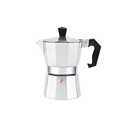 Dzbanki do kawy Ekspres do kawy Garnek Aluminiowy Mokka Espresso Perkolator Pier Czajnik Kawy Home Outdoor Cafe Tools Sliver Red Black .Herbaciane garnki i serwery do kawy (Color : Sliver 300ml)