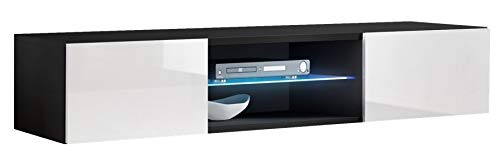 ASM FLY 33 TV-Möbel, 160 cm breit, Push-Click-Türen, Glasregal, LED-Licht, Schwarz / Weiß, Hochglanz