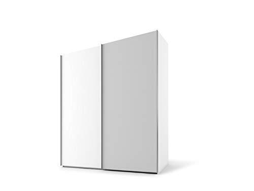Nolte Möbel PRESTO Schwebetürenschrank, Spanplatte, Polarweiß/Seidengrau, Korpus Polarweiß, 223/200/69 cm