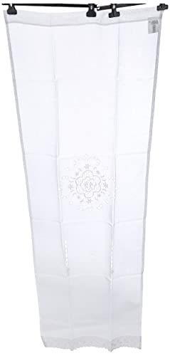 Home Fashion 023/715–0105180x 0060cm Puerta Adornos Estructura de Lino Bordado, plástico, Color Blanco, 180x 60cm