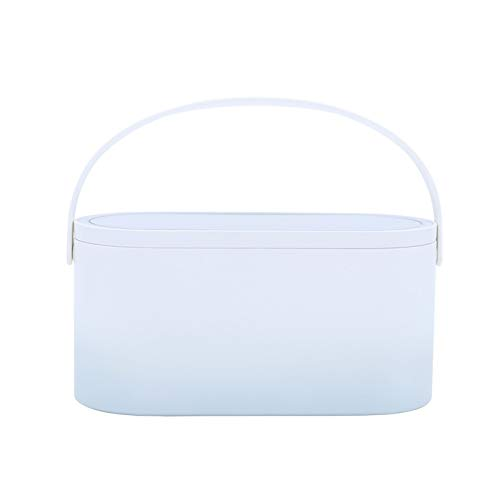 XIAO-XIN Caja Organizador de Maquillaje con Luces LED Pantalla táctil Caja de Maquillaje portátil con Espejo de Maquillaje Lámpara de Mesa Caja de Almacenamiento cosmético (Color : Gradient Blue)