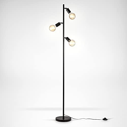 B.K.Licht I Lámpara de pie de 3 llamas I E27 I Giratoria I Retro I Interruptor de pie I Metal I sin bombilla