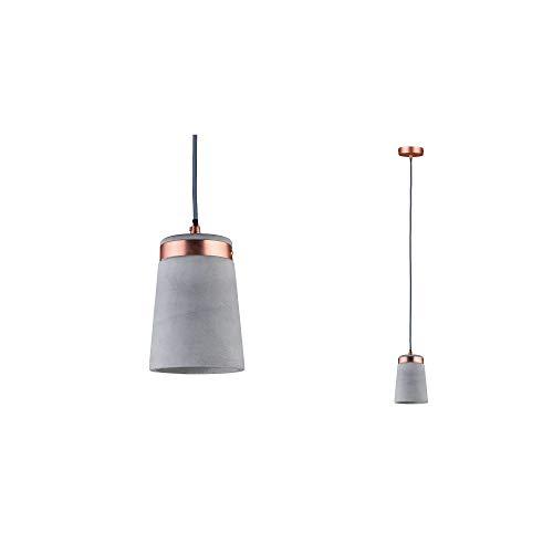 Paulmann 79617 Neordic Stig Pendelleuchte max. 1x20W Hängelampe für E27 Lampen Deckenlampe Grau/Kupfer matt 230V Beton/Metall ohne Leuchtmittel, 1er-Pendel