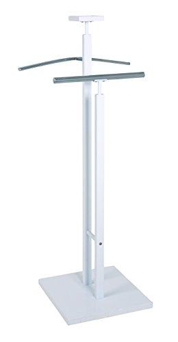 Haku-Möbel 38344 Herrendiener, Stahl, MDF, weiß-Chrom, 33x33x109 cm