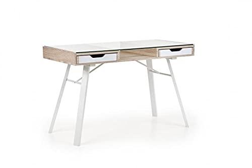 Mesa de escritorio de cristal, MDF y metal, con 2 cajones B-33 roble Sonoma/blanco, 120 x 60 x 76 cm