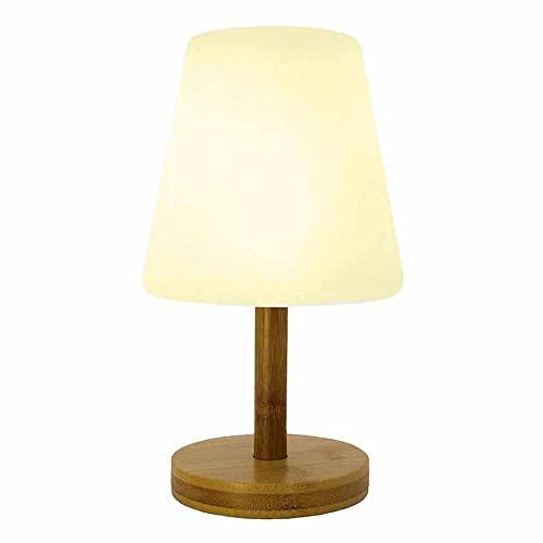 Lámpara de mesa sin cable con pie de bambú natural LED blanco cálido/blanco regulable STANDY MINI WOOD H25cm
