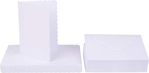 """Doppelkarten""""Wellenrand"""" mit Umschlägen, DIN A6, 100-tlg, weiß"""