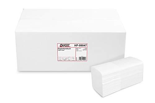 Quicky Papierhandtuch, Z-Interfold, 21 x 32 cm, 3 lagig, hochweiß, 2560 Blatt, 1er Pack (1 x 1 Stück)