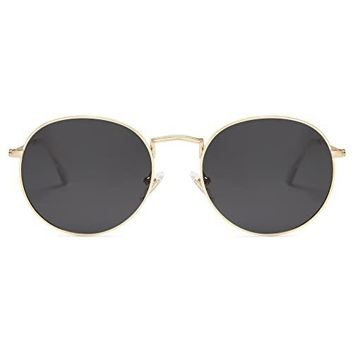SOJOS Small Round Polarized Sunglasses for Women Men Classic Vintage Retro Shades UV400 SJ1014, Gold/Grey