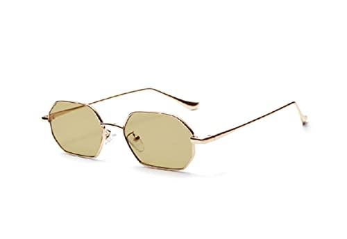JINZUN Gafas de Sol con Montura de Metal Montura pequeña Lentes de Color Transparente oceánico Moda Protección UV Ojos Verde Oliva