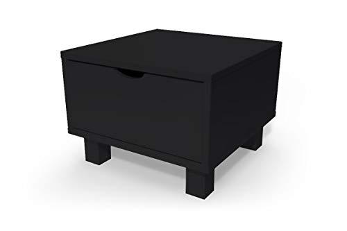 ABC MEUBLES - Chevet Cube tiroir Bois, Couleur: Noir
