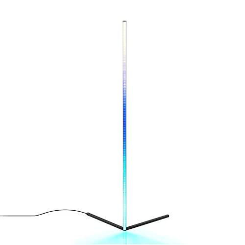 HQYXGS Lámpara De Pie LED Regulable, 20W Negro RGB Luces De Pie Moderno Minimalista Lampara De Pie con Control Remoto Lámpara De Esquina para Salón, Dormitorio