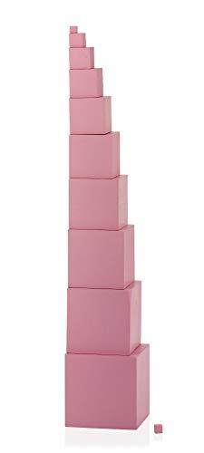 Rosa Turm Montessori-Material um die Koordination der Bewegung zu schulen
