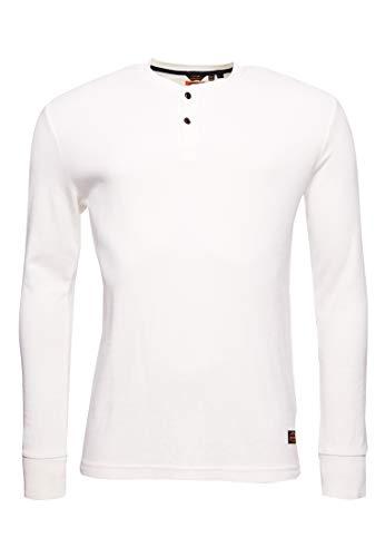 Superdry Hombre Camiseta con Cuello Panadero, Textura y Logotipo Micro Crema M