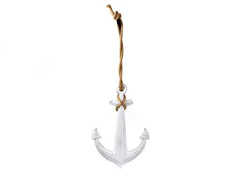 Cepewa Vintage Deko Anker weiß mit Tau zum Aufhängen Maritim Holz 40x59 cm Meer Schiff