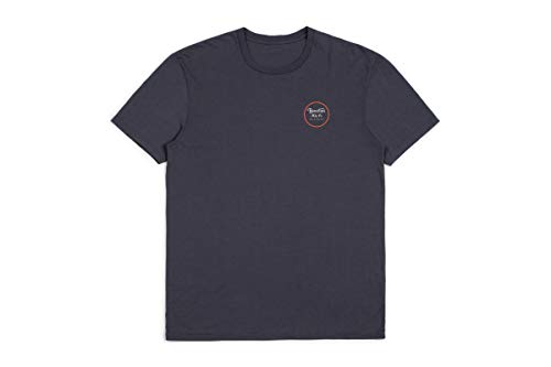 BRIXTON Wheeler II S/s Prem Tee T-Shirt, Washed Navy, L Uomo