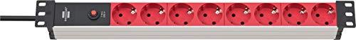 Brennenstuhl regleta enchufes Alu-Line 19 pulgadas para armario rack con 8 tomas de corriente y clavija IEC (unidad de distribución, 19 pulgadas formato para montaje, cable de 2 m)