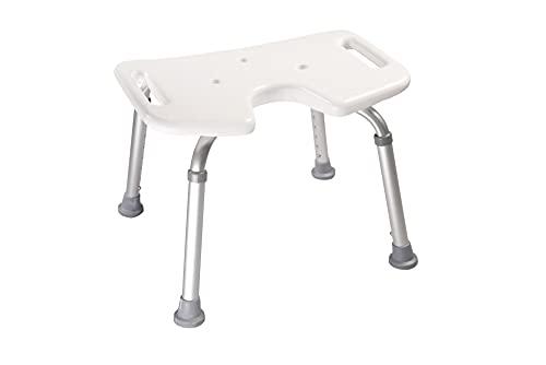 Akriva Duschhocker - höhenverstellbar - rutschfest - stabil - komfortabel - Badhocker - Duschsitz (Mit Hygieneausschnitt)