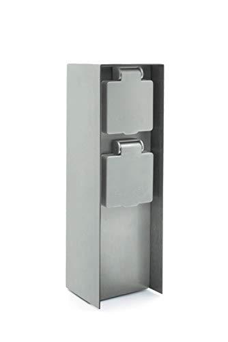 LED Universum Gartensteckdose aus Edelstahl, IP44 für außen, 23cm (Silber 2-fach)
