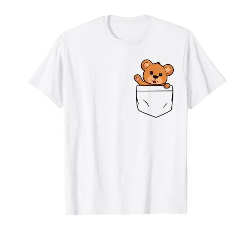 Tier Brusttasche Teddy Teddybär Bär niedlich lustig Bären T-Shirt