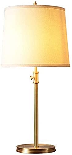 REOOHOUSE Lámpara de Mesa de Cobre para habitación de Hotel, lámpara de Sala de Estar, Dormitorio Simple y cálido, lámpara de Noche, lámpara de Mesa Ajustable en Altura de Tela, 30 * 70 cm