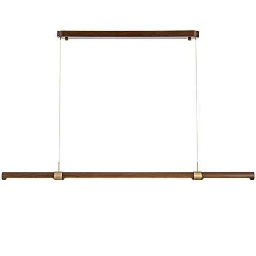 Candelabro LED mesa comedor marrón Lámpara colgante diseño tira larga Lámpara araña regulable moderna Altura ajustable Imitación madera grano decorativo Iluminación colgante sala estar (L100CM)