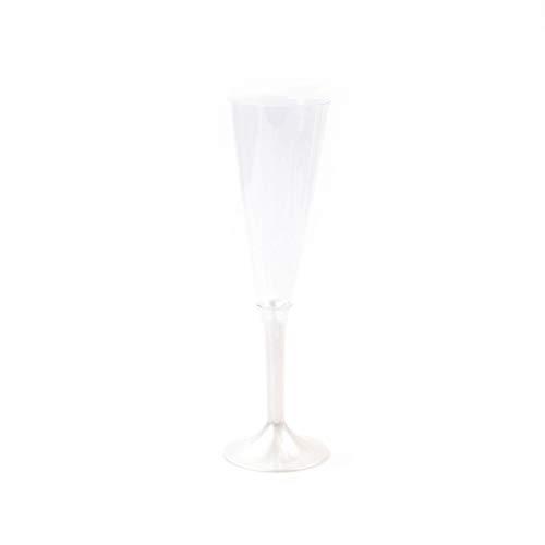 Bloedgie Tableware | Wegwerp champagneglazen met steel van PS, parelmoer-wit 160 ml | champagnefluit champagneschaal | 6 stuks