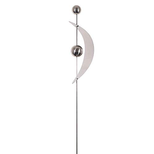 CIM Gartenstecker - Mirror 2K Edelstahl Bogen S – Abmessung: 10 x 6 x 80cm – mit hochglanzpolierten Edelstahlkugeln – Vielseitige Haus und Gartendekoration