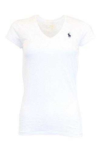 RALPH LAUREN Sport Women's Lightweight V-Neck T-Shirt, White (Navy Pony), Medium