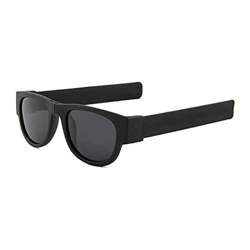 Gafas De Sol para Mujer, Pulsera Abatible, Gafas De Sol, Sombras Plegables, Moda para Hombre, Espejo Colorido, Negro