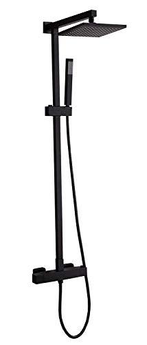 Design-Duschsystem Duschsäule SEDAL-Thermostat 8921B Basic in Schwarz - Auswahl ABS-Duschkopf eckig, Auswahl Duschkopf Quadrat:22.5x22.5cm
