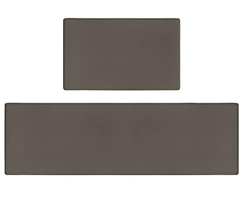 Olrla Küchenmatten Teppich 2er-Set, Anti-Ermüdungs-Stehmatten, Leder-Teppiche wasserdichte, rutschfeste, ölbeständige Fußmatten für Küchen-Stehpult (45 x 75 cm + 45 x 150 cm, Braun)