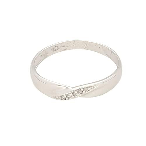 Anillo de eternidad para mujer de oro blanco de 9 quilates de 0,04 quilates (tamaño M) de 3 mm de ancho, anillo de lujo para mujer