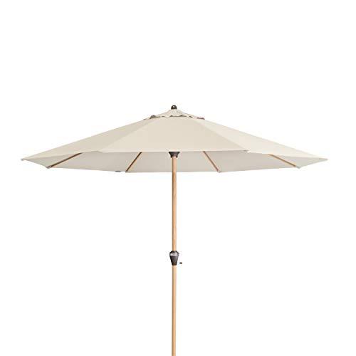 Doppler Alu Wood 350 – Runder Sonnenschirm für Balkon und Terrasse – Moderne Holzoptik – 350 cm – Natur