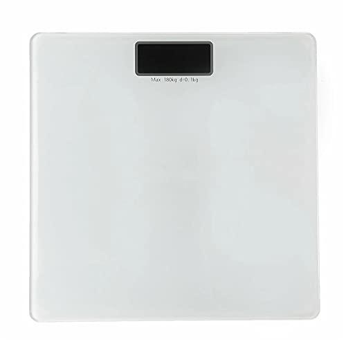 Goodvk Básculas de Grasa Corporal Inteligentes 18 0kg LCD Digital Corporal Grasa Escala de Peso Templado Vidrio Fitness saldo de Salud Fácil de Configurar (Color : White, Size : 28x28cm)