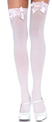 Leg Avenue Damen Halterlose Strümpfe Nylon 70 DEN leicht rosa mit rosa Schleifen Einheitsgröße 36 bis 40