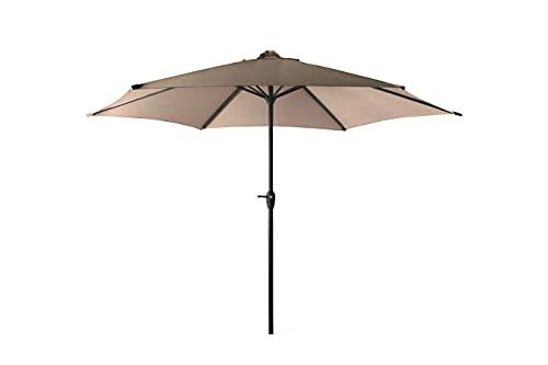 909 OUTDOOR Taupe Sonnenschirm für Garten & Terrasse Ø 300 cm, Verstellbarer runder Ampelschirm mit seitlichem Drehhebel, Gartenschirm aus Polyester & Stahl